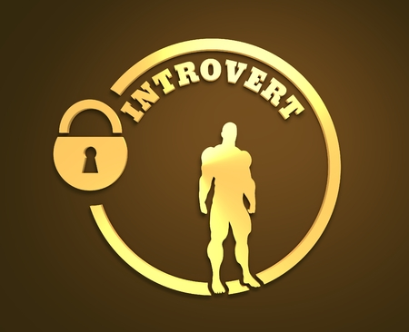 communicative: introvert simple icon metaphor. image relative to human psychology. muscular man in the locked circle. 3d rendering. metallic material