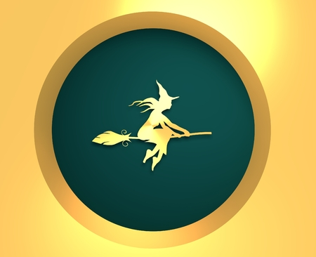 3d witch: Illustration of flying young witch icon. Witch silhouette on a broomstick. Raven sit on hand. Halloween relative image. 3d rendering. Metallic material icon Stock Photo