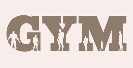 muscular men: Muscular men silhouettes on gym word. Vector silhouette. Bodybuilding relative image