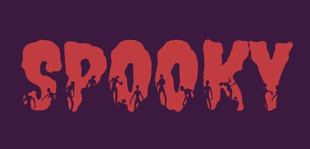 Spooky word and silhouettes on them. Halloween theme background