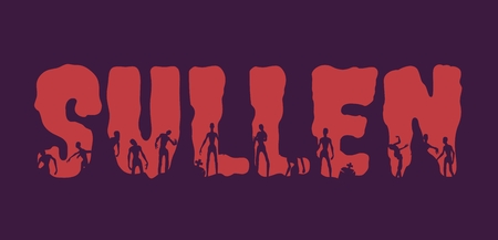 Sullen word and silhouettes on them. Halloween theme background
