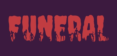 Funeral word and silhouettes on them. Halloween theme background Illustration