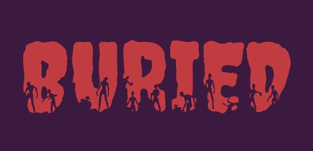 Buried word and silhouettes on them. Halloween theme background