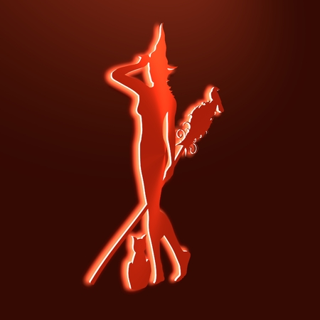 hag: Standing young witch icon. Witch silhouette. Halloween relative image. Neon shine. 3D rendering Stock Photo