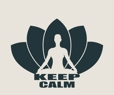 keep in: Woman sit in meditation pose. Bodybuilder relaxing. Cutout silhouette. Lotus Flower Yoga Center Emblem. Keep calm text