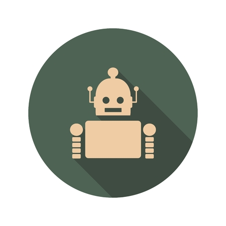 robotics: Cute vintage robot. Robotics industry relative image. Web Icon in Flat Design with Long Shadows Illustration