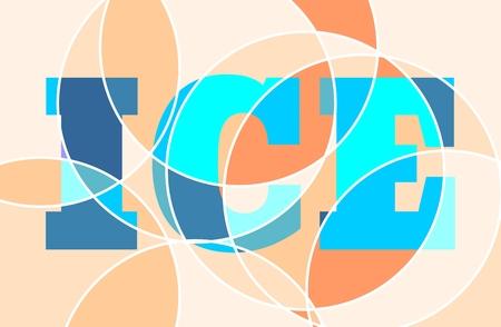 ellipse: elemento de garabatos de colores. Fondo abstracto. líneas concéntricas. texto de hielo