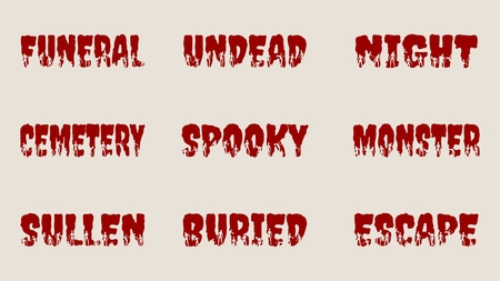 outbreak: Halloween relative words and zombie silhouettes on them. Unusual lettering collection Illustration
