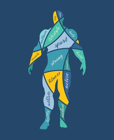 tags cloud: Abstract multicolor illustration of bodybuilder. Mosaic style silhouette. Bodybuilding relative tags cloud