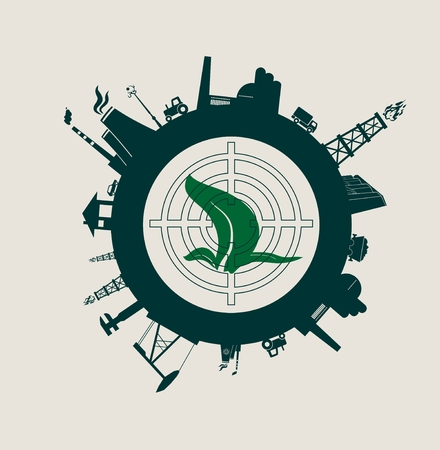 Circle with industry relative silhouettes. Vector illustration. Objects located around the circle. Industrial design background. Ecology protection. Leaf and target in the center