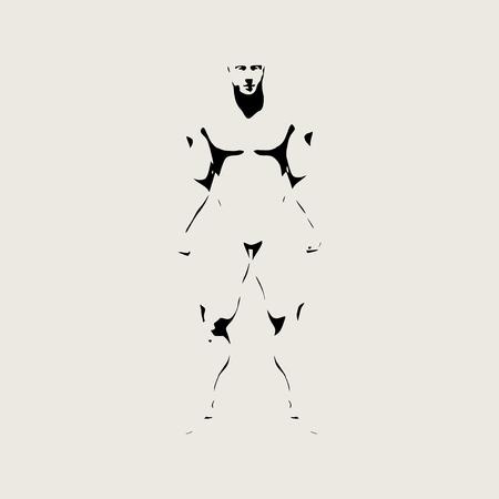 silhouette bodybuilder. Uomo muscolare in posa. illustrazione di stile di abbozzo Vettoriali