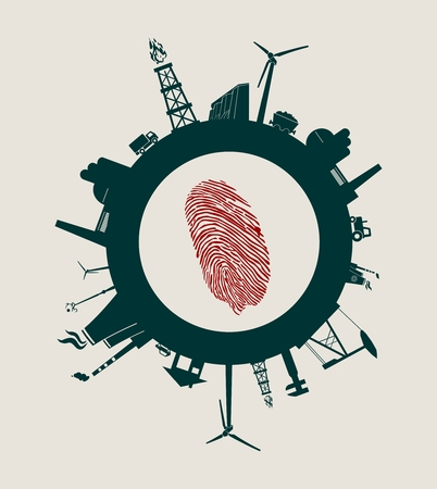 Circle with industry relative silhouettes. Vector illustration. Objects located around the circle. Industrial design background. Ecology protection. Human fingertip in the center Illustration