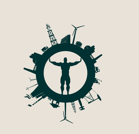Circle with industry relative silhouettes. Vector illustration. Objects located around the circle. Industrial design background. Man figure in the center.