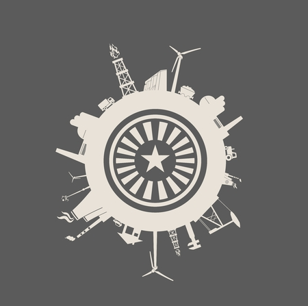 Circle with industry relative silhouettes. Vector illustration. Objects located around the circle. Industrial design background. Star and rays in the center.