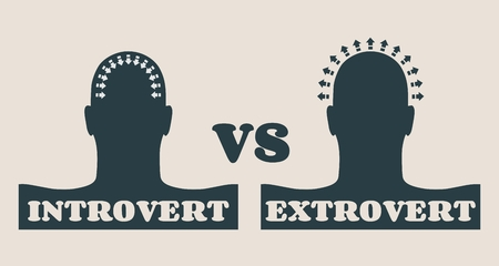 introversion: extrovert and introvert metaphor. Image relative to human psychology