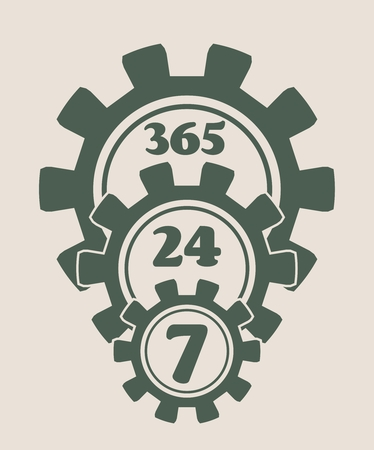 twenty four hour: Time operation mode in gear. Gear pyramid. For customer support and retail. Seven days twenty four hour. Cogwheels overlay