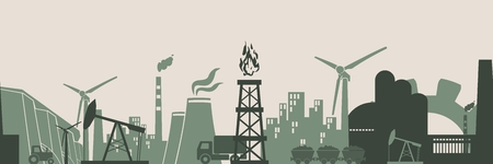 Energy and Power icons set. Header or footer banner. Sustainable energy generation and heavy industry. Vector illustration. Seamless background