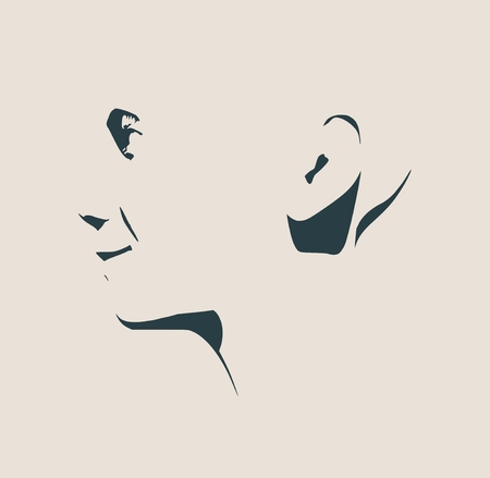 human face: Human head silhouette. Face side view. Elegant silhouette of part of human face. Vector Illustration. Emotions of the happyness