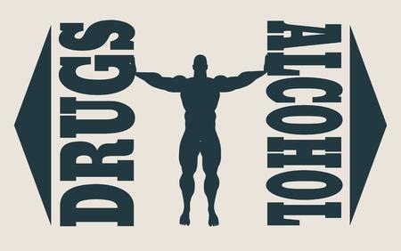 unhealth: Man cancelled addiction to alcohol and drugs. Unhealth addiction metaphor. Vector illustration.