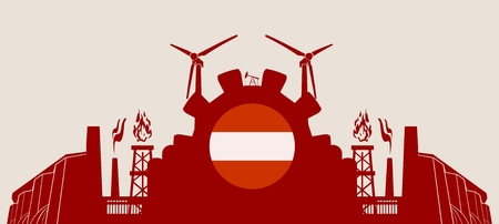 heavy set: Energy and Power icons set with Austria flag. Sustainable energy generation and heavy industry. Vector illustration