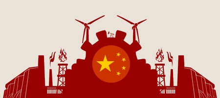 Energy and Power icons set with China flag. Sustainable energy generation and heavy industry. Vector illustration Illustration