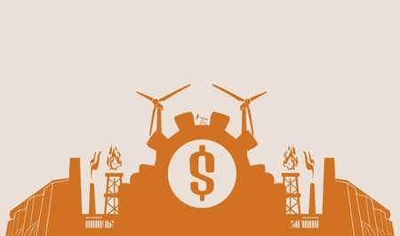 Energy and Power icons set. Header or footer banner. Sustainable energy generation and heavy industry. Dollar symbol Illustration