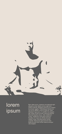 yoga meditation: Muscular man sit in meditation pose. Bodybuilder relaxing. Human silhouette. Yoga Center Brochure. Field for text