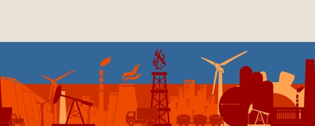 Energy and Power icons set on Russia flag backdrop. Header or footer banner. Sustainable energy generation and heavy industry. Vector illustration. Seamless background