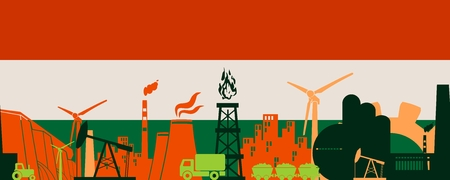 Energy and Power icons set on Hungary flag backdrop. Header or footer banner. Sustainable energy generation and heavy industry. Vector illustration. Seamless background
