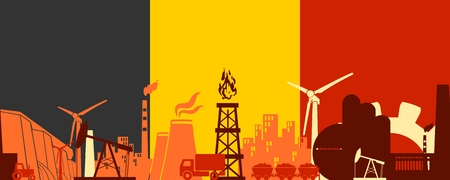 Energy and Power icons set on Belgium flag backdrop. Header or footer banner. Sustainable energy generation and heavy industry. Vector illustration. Seamless background Illustration
