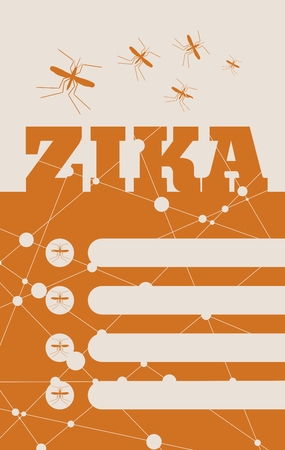 Modern vector brochure, report or leaflet design template. Medical industry, biotechnology and biochemistry. Scientific medical designs. Mosquito transmission diseases relative theme. Zika fever Illustration