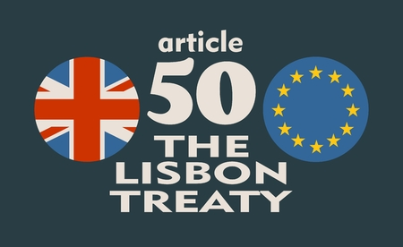 treaty: United Kingdom exit from Europe relative image. Brexit named politic process. Round flags. Article 50 of the Lisbon Treaty text