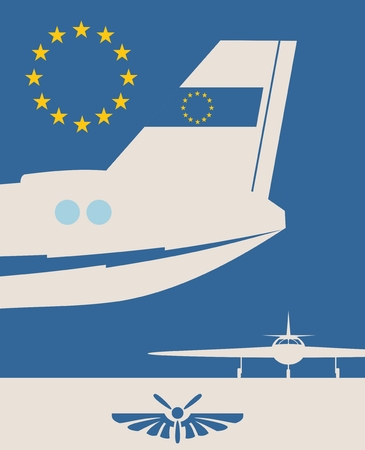 Vertical banner with the image of an airplane tail. Air company logo. European Union flag as backdrop Illustration
