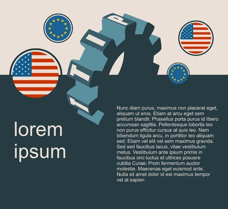 TTIP - Transatlantic Trade and Investment Partnership. Europe and USA association. Modern vector brochure, report or flyer design template. Field for text Illustration