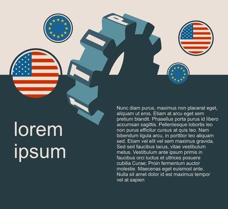 harmonization: TTIP - Transatlantic Trade and Investment Partnership. Europe and USA association. Modern vector brochure, report or flyer design template. Field for text Illustration