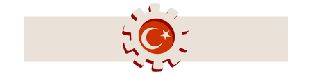 precision: 3D cog wheel with Turkey flag. Precision machinery relative backdrop. Vector illustration for web banner or header