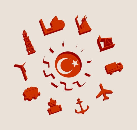 Energy and Power icons set with Turkey flag. Sustainable energy generation and heavy industry. 3D silhouettes Illustration