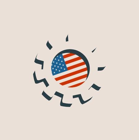 roue dentée 3D avec USA flag. machines de précision de toile de fond par rapport