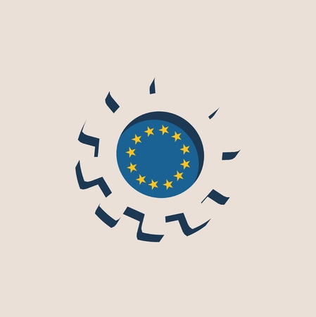 european union flag: 3D cog wheel with European union flag. Precision machinery relative backdrop Illustration
