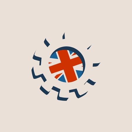 Roue dentée 3D avec le drapeau de la Grande-Bretagne. Toile de fond relative de machines de précision