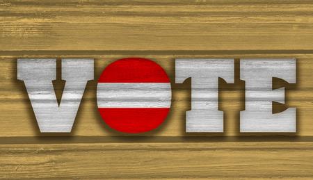 Vote text on wooden background. Austria flag