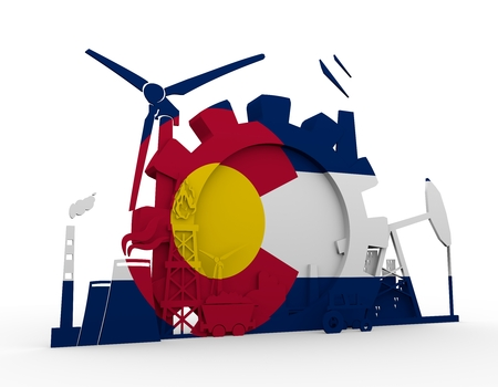 Energy and Power icons set with Colorado flag. Sustainable energy generation and heavy industry. 3D rendering. Stock Photo