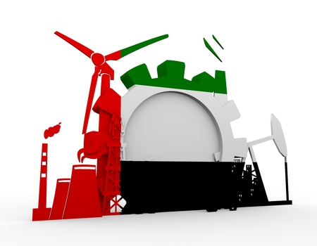 Energy and Power icons set with United Arab Emirates flag. Sustainable energy generation and heavy industry. 3D rendering. Stock Photo