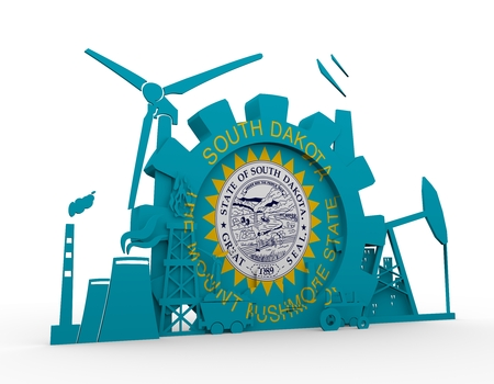 Energy and Power icons set with South Dakota flag. Sustainable energy generation and heavy industry. 3D rendering.