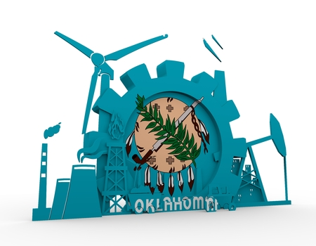 Energy and Power icons set with Oklahoma flag. Sustainable energy generation and heavy industry. 3D rendering. Stock Photo