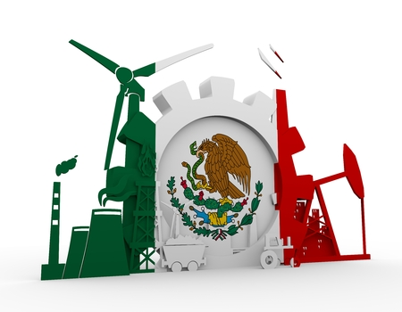 Energy and Power icons set with Mexico flag. Sustainable energy generation and heavy industry. 3D rendering.