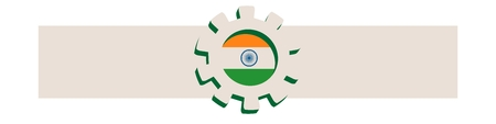 precision: 3D cog wheel with India flag. Precision machinery relative backdrop. Vector illustration for web banner or header