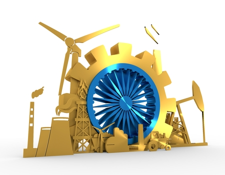 Energy and Power icons set with India flag element. Sustainable energy generation and heavy industry. 3D rendering Stock Photo