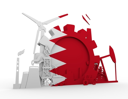 heavy set: Energy and Power icons set with Bahrain flag. Sustainable energy generation and heavy industry. 3D rendering. Stock Photo