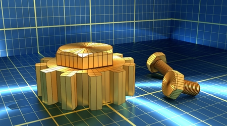Industry theme relative abstract background concept. Blue print backdrop. Wire frame gear and bolts. Golden material. 3D rendering Stock Photo